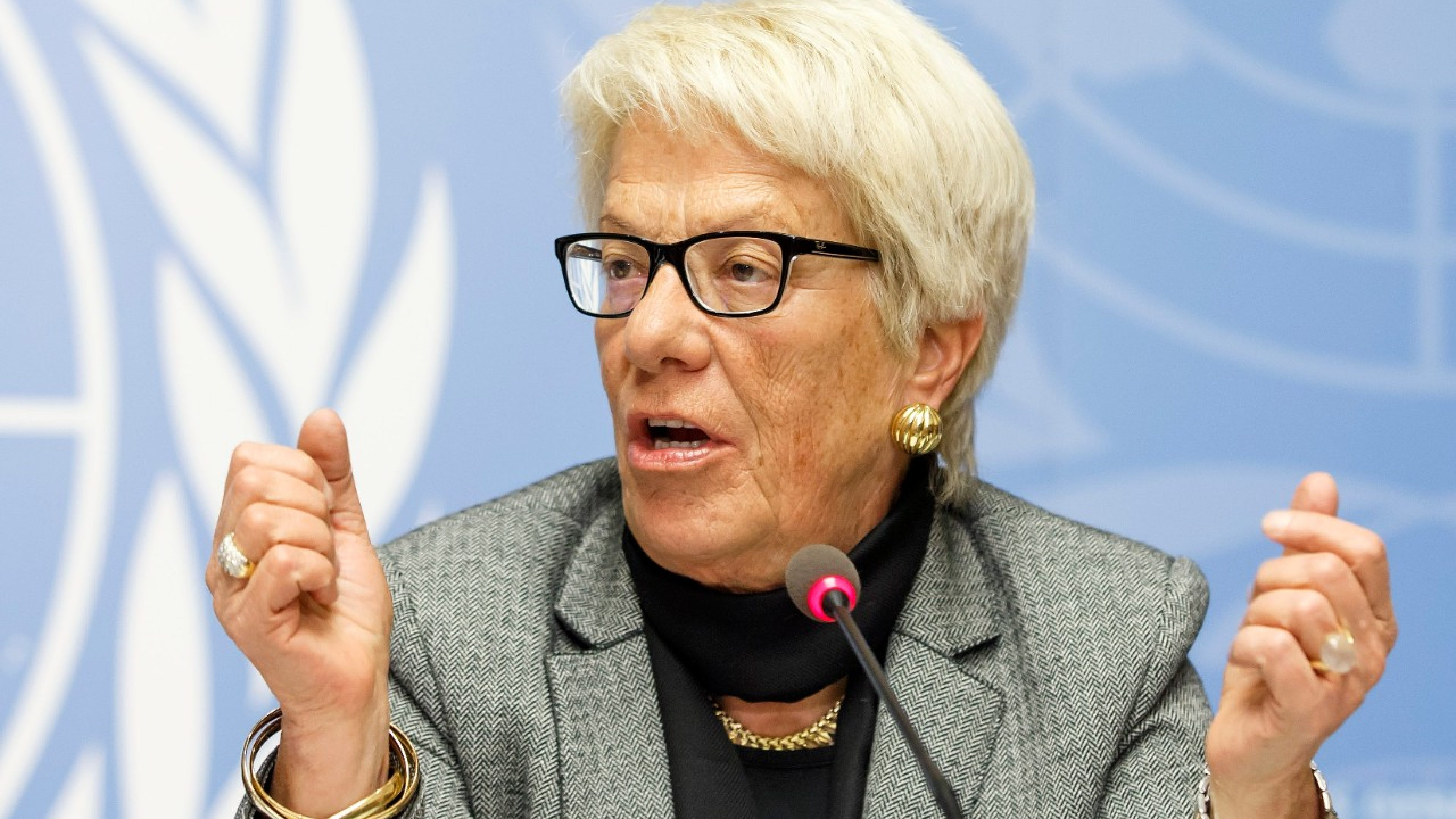 "Switzerland's Carla del Ponte, member of the Commission of Inquiry on Syria, informs to the media on report ""Out of Sight, Out of Mind: Deaths in Detention in the Syrian Arab Republic"" of the Commission of Inquiry on the Syrian Arab Republic, during press conference, at the European headquarters of the United Nations in Geneva, Switzerland, Monday, February 8, 2016. (KEYSTONE/Salvatore Di Nolfi)"