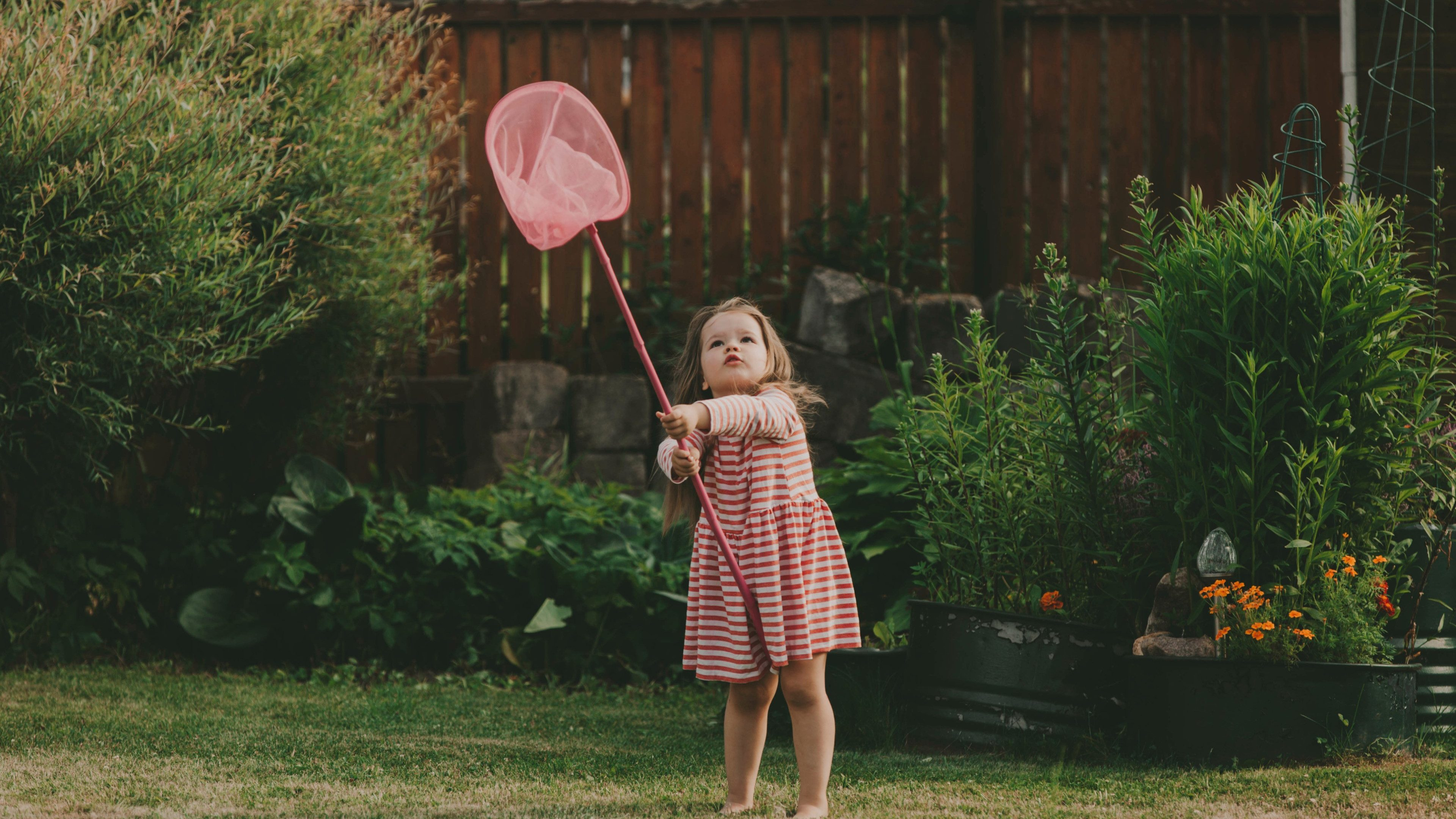 Cute baby girl with long hair in a striped dress with a pink butterfly net. Concept of holidays, summer fan, girls fashion.