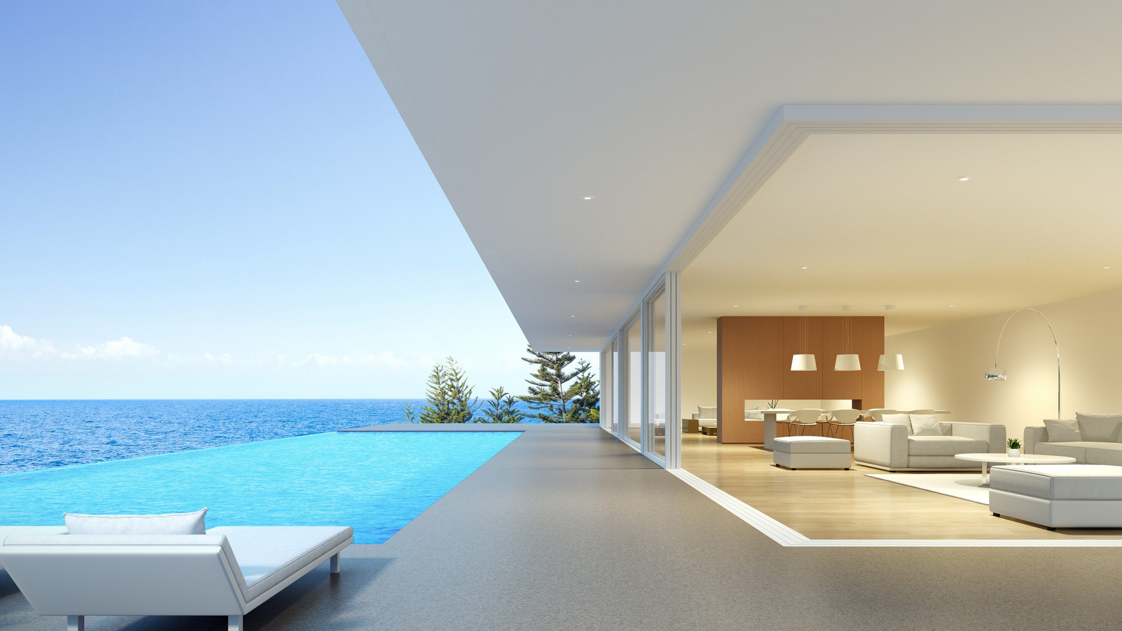 Perspective of modern luxury building with terrace and swimming infinity pool on sea view background,Idea of family vacation. 3D rendering.