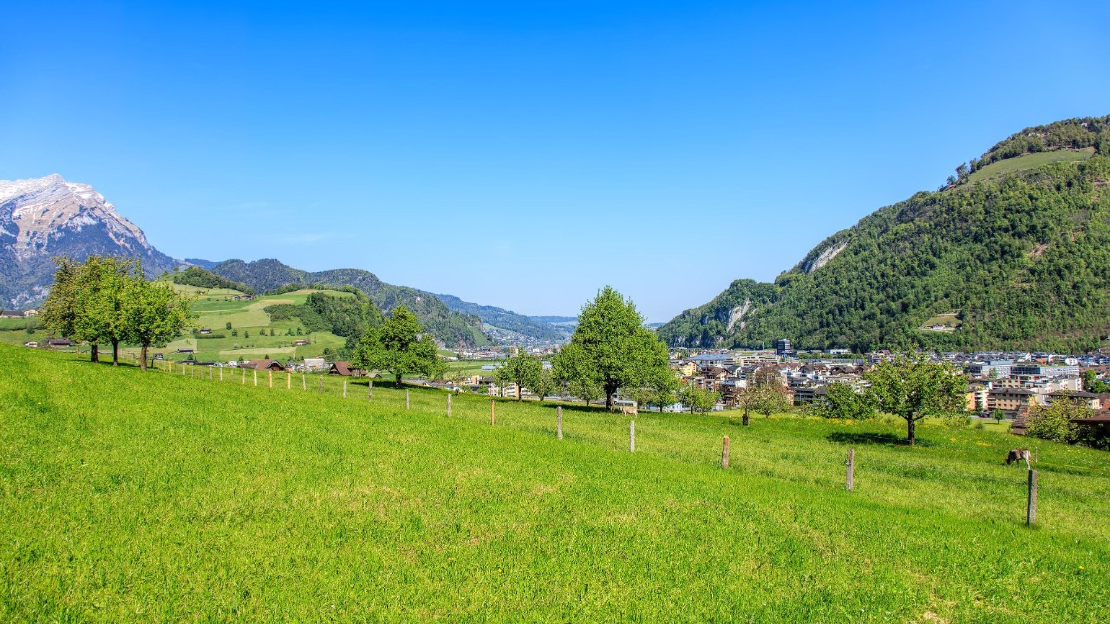 Landscape in the Swiss canton of Nidwalden, in the region of the town of Stans, in the beginning of May.